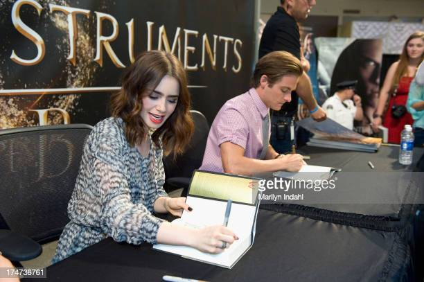 Kevin Zeger Jamie Campbell Bower and Lily Collins at the Mall of America for a meet and greet for fans in anticipation for Screen Gems's...