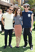 Kevin Zegers Lily Collins and Jamie Campbell Bower attend the 'The Mortal Instruments City Of Bones' meet and greet at The Americana at Brand on...