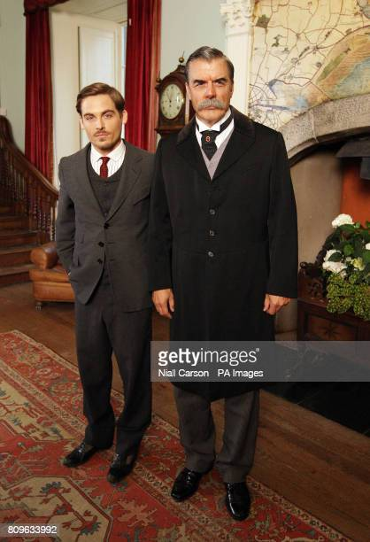 Kevin Zegers who plays Mark Muir and Chris Noth who plays JP Morgan speak to the media during filming of a new TV miniseries Titanic Blood And Steel...