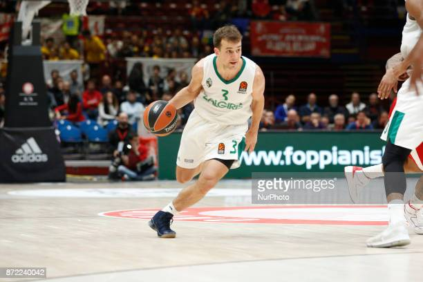 Keving Pangos drives to the basket during a game of Turkish Airlines EuroLeague basketball between AX Armani Exchange Milan vs Zalgiris Kaunas at...