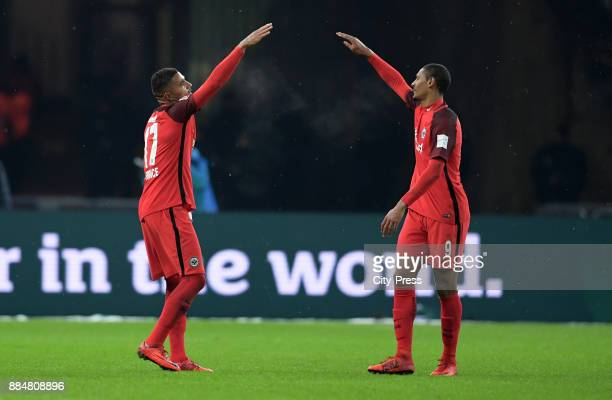 KevinPrince Boateng and Sébastien Haller of Eintracht Frankfurt celebrate after scoring the 12 during the game between Hertha BSC and the Eintracht...