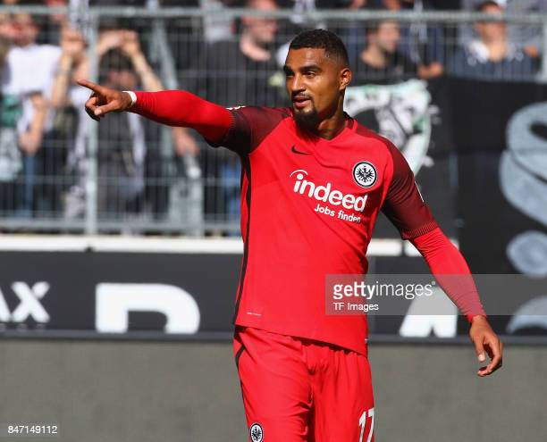 KevinPrince Boateng celebrate a goal during the Bundesliga match between Borussia Moenchengladbach and Eintracht Frankfurt at BorussiaPark on...