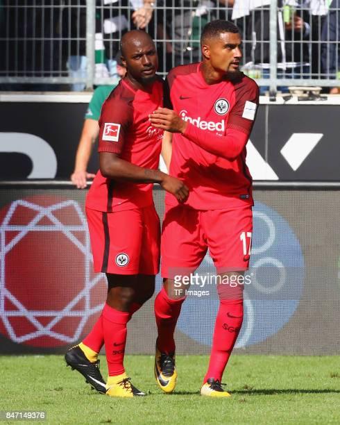 KevinPrince Boateng celebrate a goal during the Bundesliga match between Borussia Moenchengladbach and Eintracht Frankfurt at BorussiaPark on...