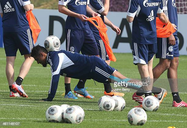 KevinPrince Boateng in action during the FC Schalke 04 Training Camp held at the Aspire Academy for Sports Excellence on January 7 2013 in Doha Qatar