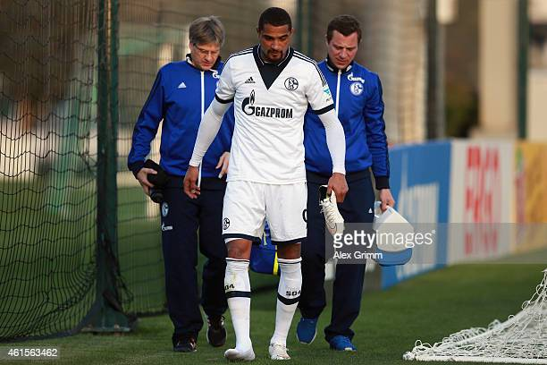 KevinPrince Boateng leaves the pitch during a friendly match between FC Schalke 04 and AlMerrikh SC at ASPIRE Academy for Sports Excellence on...