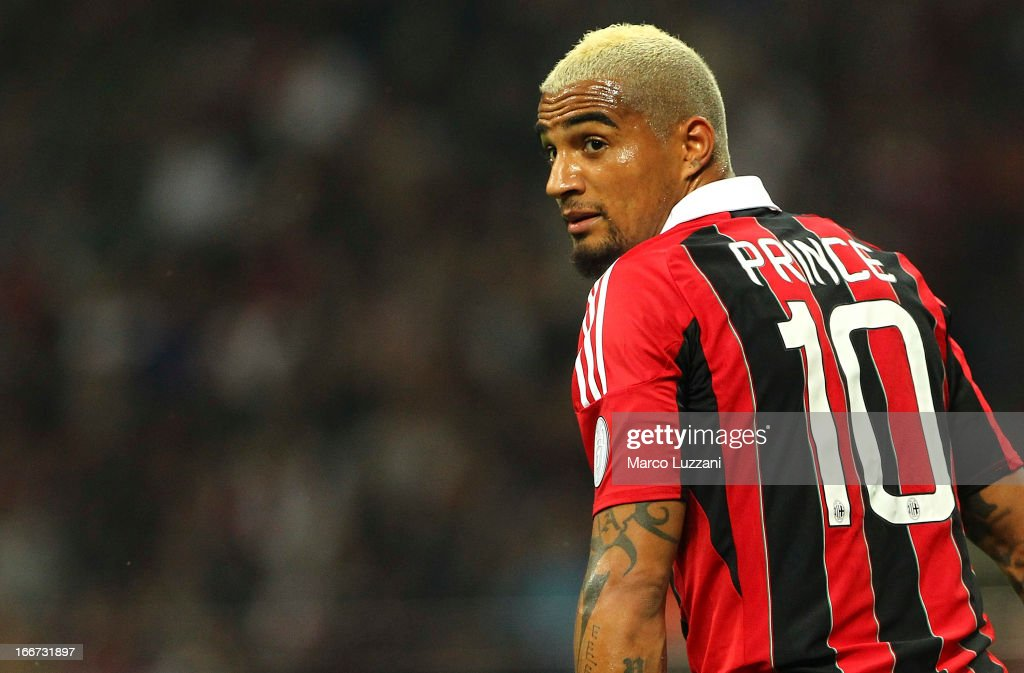 Kevin-Prince Boateng looks on during the Serie A match between AC Milan and SSC Napoli at San Siro Stadium on April 14, 2013 in Milan, Italy.