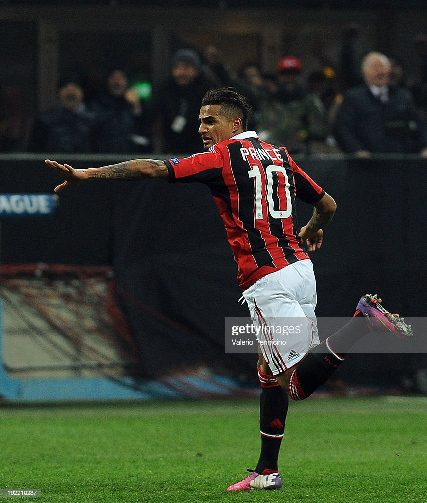 KevinPrince Boateng of AC Milan celebrates the opening goal during the UEFA Champions League Round of 16 first leg match between AC Milan and...