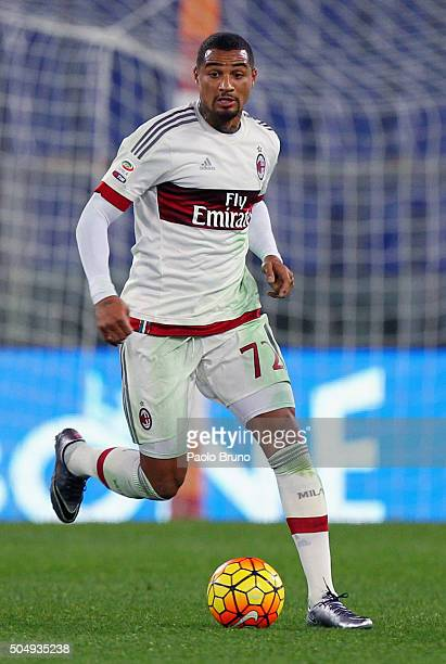 KevinPrince Boateng of AC Milan in action during the Serie A match between AS Roma and AC Milan at Stadio Olimpico on January 9 2016 in Rome Italy