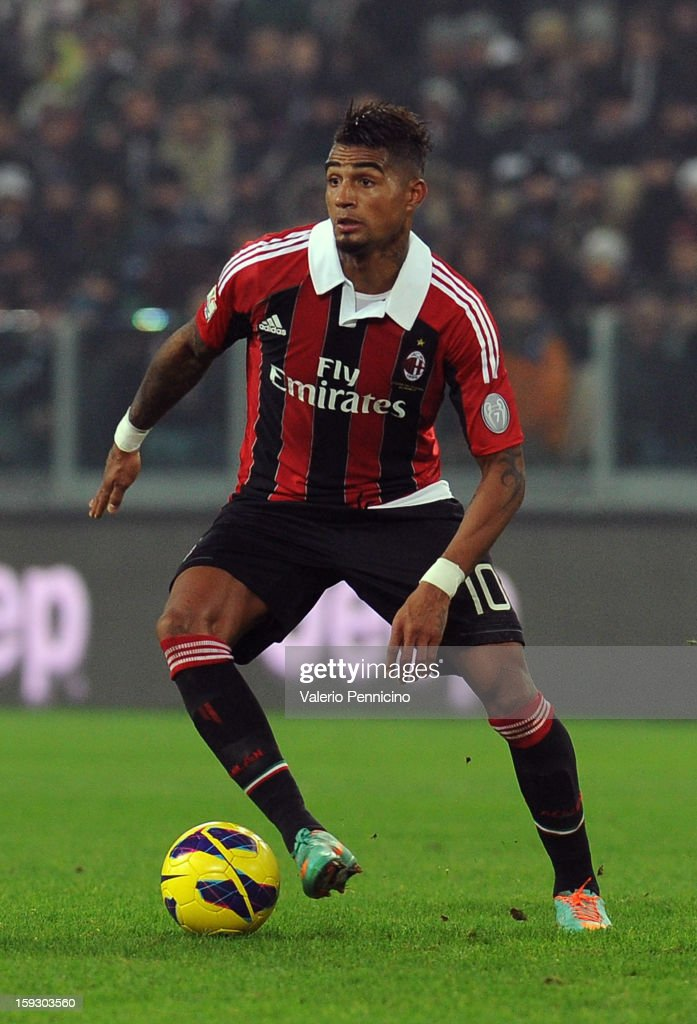 Kevin-Prince Boateng of AC Milan in action during the TIM cup match between Juventus FC and AC Milan at Juventus Arena on January 9, 2013 in Turin, Italy.
