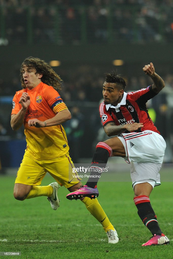 Kevin-Prince Boateng (R) of AC Milan scorse the opening goal during the UEFA Champions League Round of 16 first leg match between AC Milan and Barcelona at San Siro Stadium on February 20, 2013 in Milan, Italy.