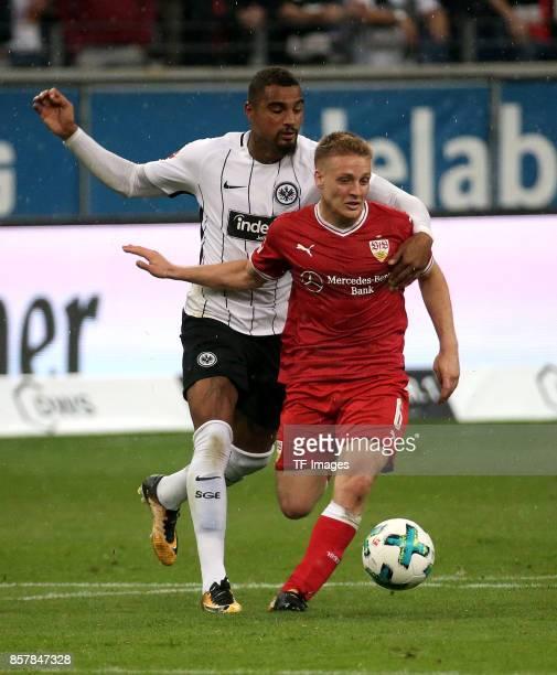 KevinPrince Boateng of Frankfurt and Santiago Ascacibar of Stuttgart battle for the ball during the Bundesliga match between Eintracht Frankfurt and...
