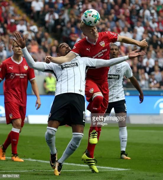 KevinPrince Boateng of Frankfurt and Timo Baumgartl of Stuttgart battle for the ball during the Bundesliga match between Eintracht Frankfurt and VfB...