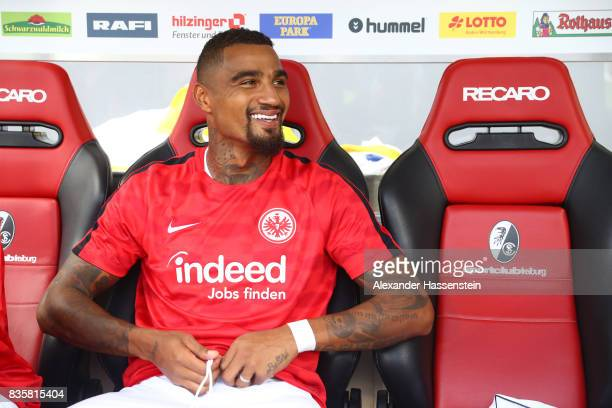KevinPrince Boateng of Frankfurt during warm up ahead of the Bundesliga match between SportClub Freiburg and Eintracht Frankfurt at...
