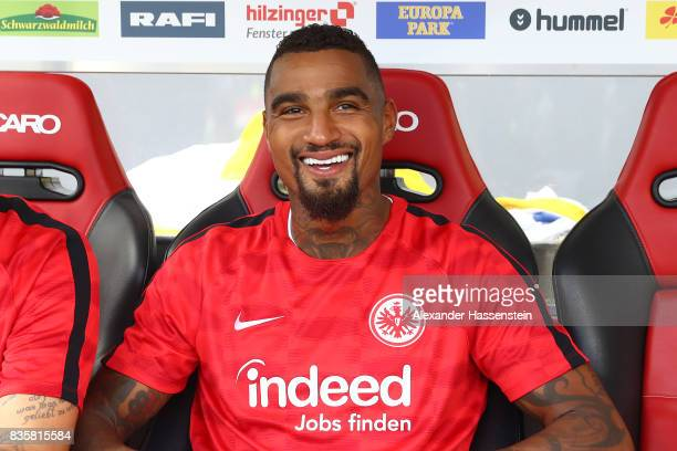 KevinPrince Boateng of Frankfurt during warm up ahead of the Bundesliga match between SportClub Freiburg and Eintracht Frankfurt at...