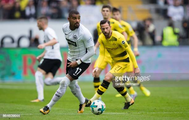 KevinPrince Boateng of Frankfurt is challenged by Gonzalo Castro of Dortmund during the Bundesliga match between Eintracht Frankfurt and Borussia...