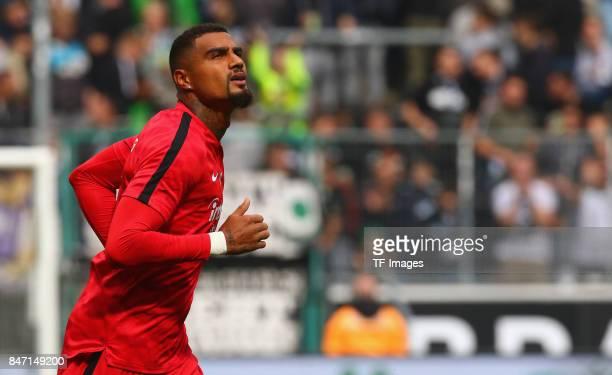 KevinPrince Boateng of Frankfurt looks on during the Bundesliga match between Borussia Moenchengladbach and Eintracht Frankfurt at BorussiaPark on...