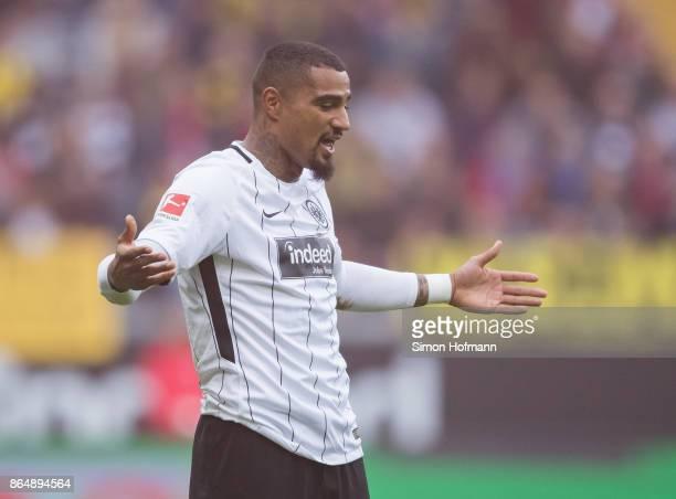 KevinPrince Boateng of Frankfurt reacts during the Bundesliga match between Eintracht Frankfurt and Borussia Dortmund at CommerzbankArena on October...