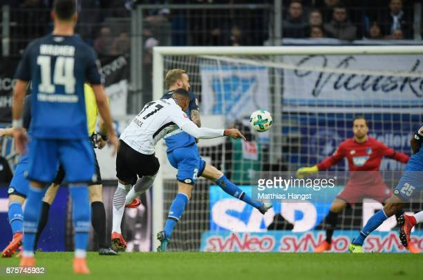 KevinPrince Boateng of Frankfurt scores his team's first goal during the Bundesliga match between TSG 1899 Hoffenheim and Eintracht Frankfurt at...