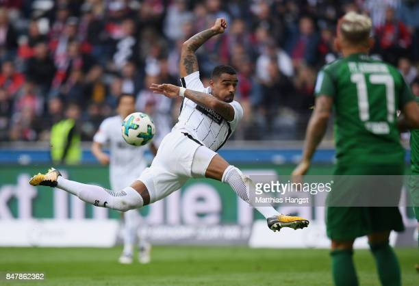 KevinPrince Boateng of Frankfurt takes a shot during the Bundesliga match between Eintracht Frankfurt and FC Augsburg at CommerzbankArena on...