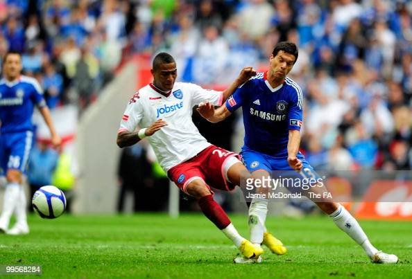 KevinPrince Boateng of Portsmouth fouls Michael Ballack of Chelsea during the FA Cup sponsored by EON Final match between Chelsea and Portsmouth at...