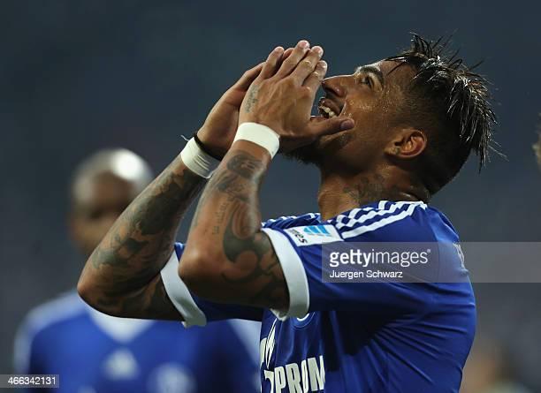 KevinPrince Boateng of Schalke celebrates after scoring his second goal during the Bundesliga match between FC Schalke 04 and VfL Wolfsburg at...