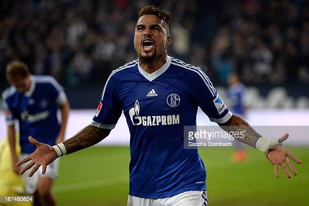 KevinPrince Boateng of Schalke celebrates after scoring his team's 2nd goal during the Bundesliga match between FC Schalke 04 and Werder Bremen at...