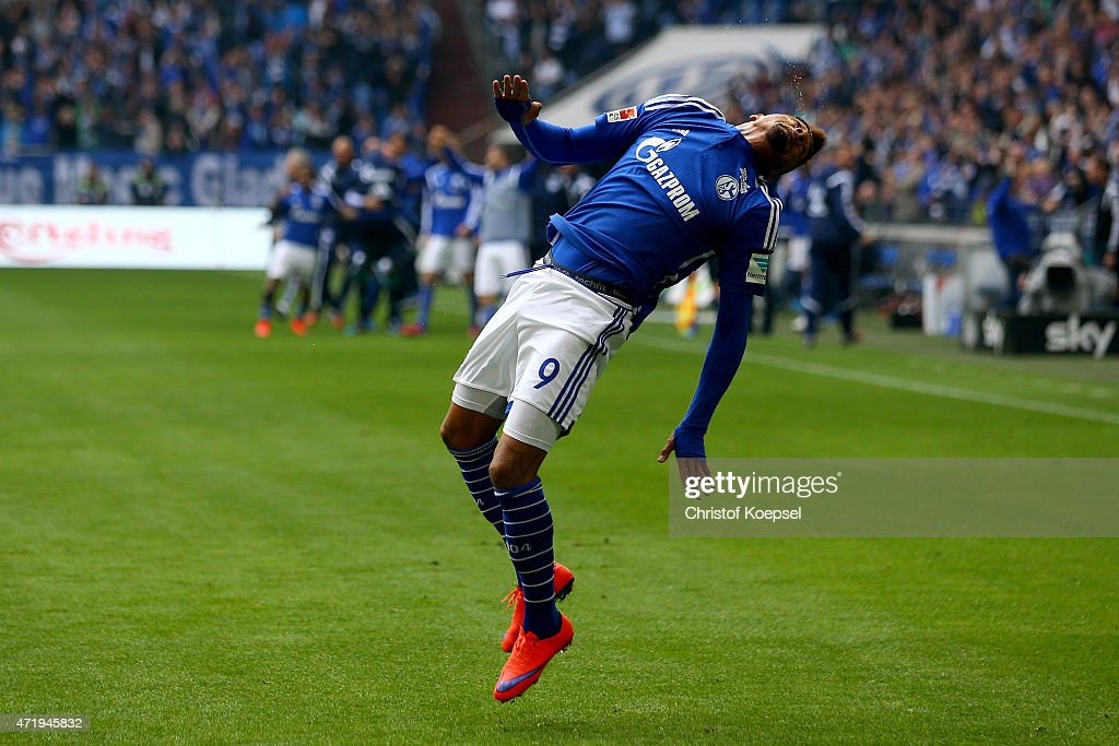 Kevin-Prince Boateng of Schalke celebrates the third and winning goal during the Bundesliga match between FC Schalke 04 and VfB Stuttgart at Veltins Arena on May 2, 2015 in Gelsenkirchen, Germany.