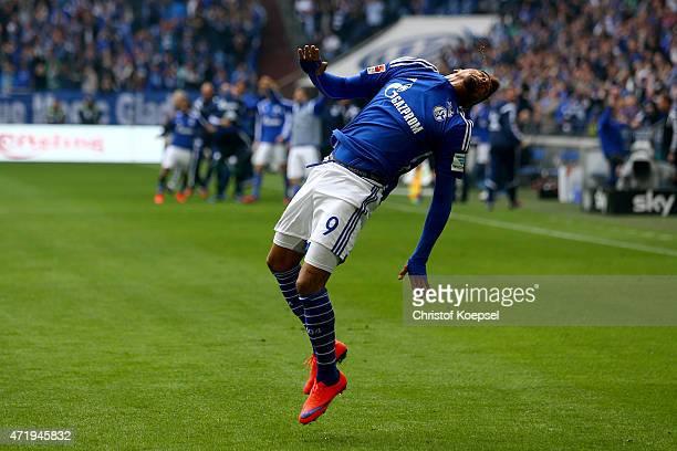 KevinPrince Boateng of Schalke celebrates the third and winning goal during the Bundesliga match between FC Schalke 04 and VfB Stuttgart at Veltins...