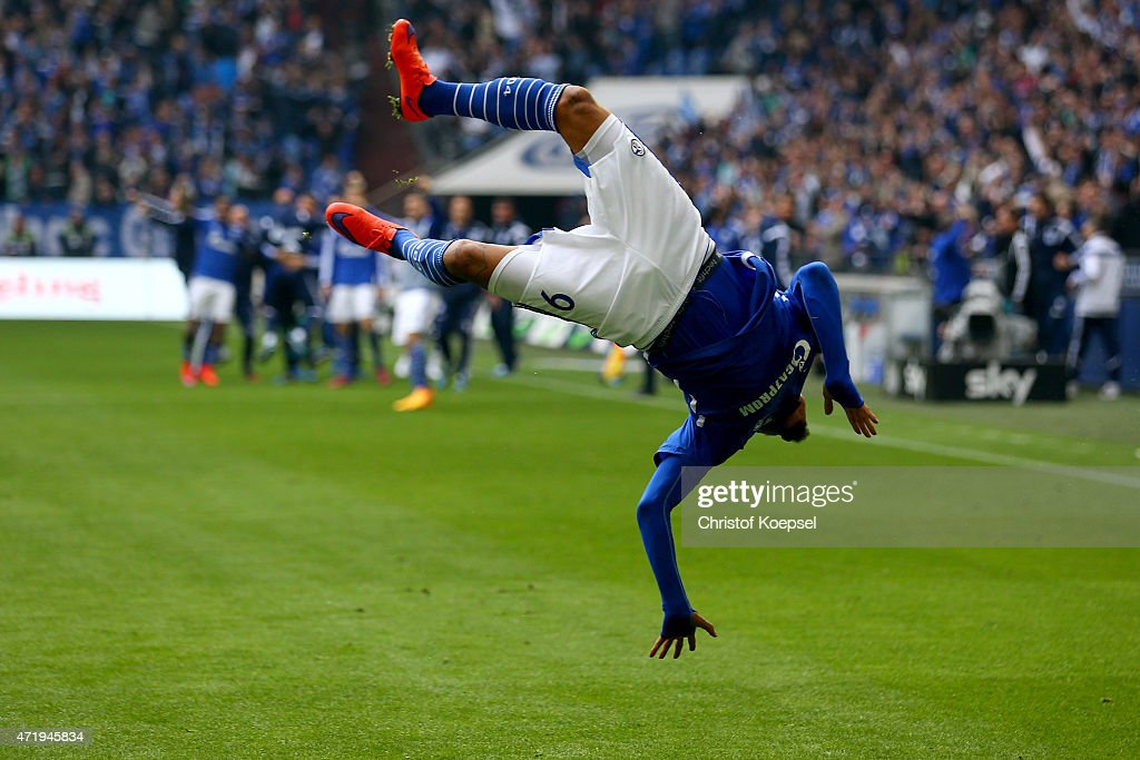 <a gi-track='captionPersonalityLinkClicked' href=/galleries/search?phrase=Kevin-Prince+Boateng&family=editorial&specificpeople=613049 ng-click='$event.stopPropagation()'>Kevin-Prince Boateng</a> of Schalke celebrates the third and winning goal during the Bundesliga match between FC Schalke 04 and VfB Stuttgart at Veltins Arena on May 2, 2015 in Gelsenkirchen, Germany.