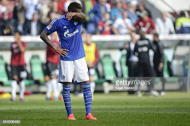 KevinPrince Boateng of Schalke reacts after the Bundesliga match between FC Schalke 04 and Hannover 96 at HDIArena on August 23 2014 in Hanover...
