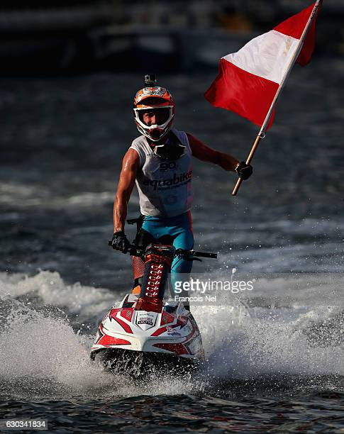 Kevis Reiterer of Austria celebrates after winning the Ski Division GP1 final during the Aquabike Class Pro Circuit World Championships Grand Prix of...