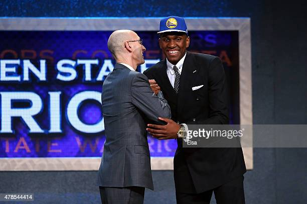 Kevon Looney meets Commissioner Adam Silver after being selected 30th overall by the Golden State Warriors in the First Round of the 2015 NBA Draft...