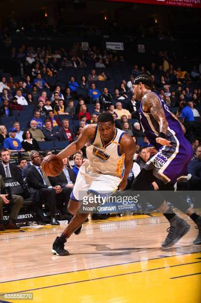 Kevon Looney of the Golden State Warriors drives to the basket against the Sacramento Kings on February 15 2017 at ORACLE Arena in Oakland California...