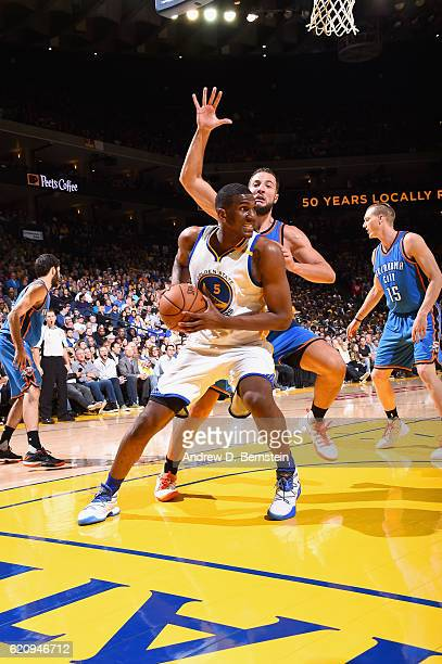Kevon Looney of the Golden State Warriors goes to the basket against the Oklahoma City Thunder on November 3 2016 at ORACLE Arena in Oakland...