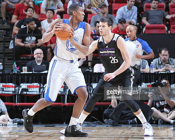 Kevon Looney of the Golden State Warriors handles the ball against the Sacramento Kings on July 15 2015 at the Thomas Mack Center in Las Vegas Nevada...