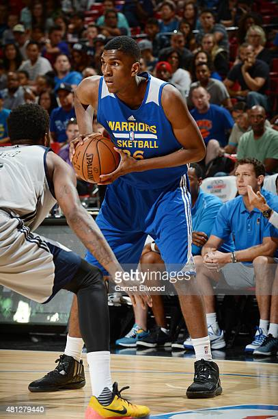 Kevon Looney of the Golden State Warriors handles the ball against the New Orleans Pelicans during the 2015 NBA Las Vegas Summer League game on July...