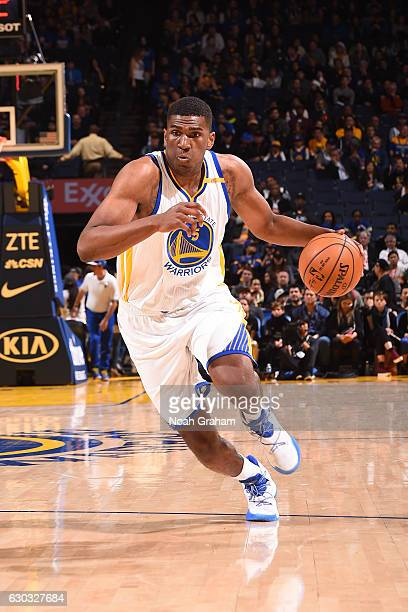 Kevon Looney of the Golden State Warriors handles the ball against the Golden State Warriors on December 20 2016 at ORACLE Arena in Oakland...