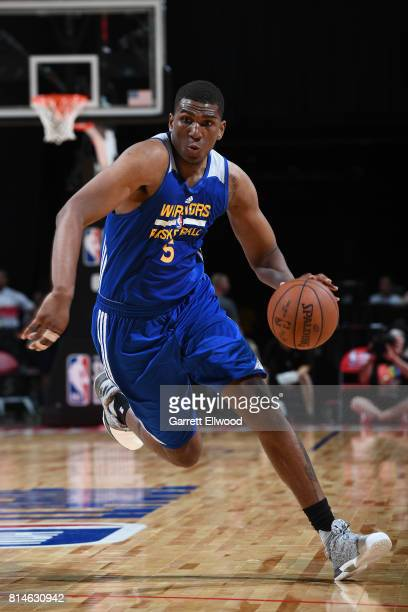 Kevon Looney of the Golden State Warriors handles the ball against the LA Clippers on July 14 2017 at the Thomas Mack Center in Las Vegas Nevada NOTE...