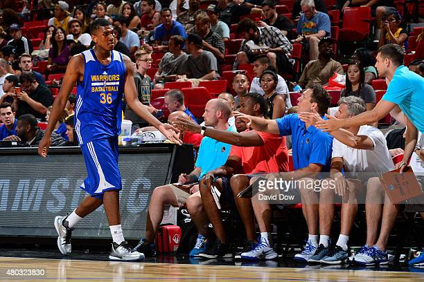 Kevon Looney of the Golden State Warriors heads to the bench during NBA Summer League against the Cleveland Cavaliers on July 10 2012 at the Cox...