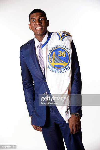 Kevon Looney of the Golden State Warriors poses for a portrait during a draft press conference at the Warriors Training Center on June 26 2015 in...