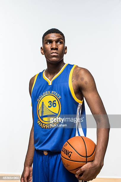Kevon Looney of the Golden State Warriors poses for a portrait during the 2015 NBA rookie photo shoot on August 8 2015 at the Madison Square Garden...