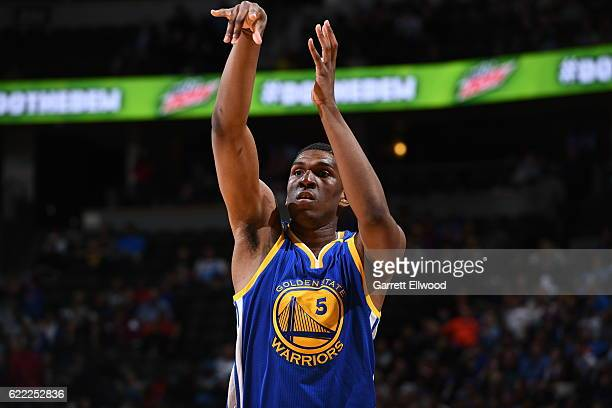 Kevon Looney of the Golden State Warriors shoots the ball against the Denver Nuggets on November 10 2016 at the Pepsi Center in Denver Colorado NOTE...