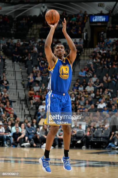Kevon Looney of the Golden State Warriors shoots the ball against the San Antonio Spurs on March 11 2017 at the ATT Center in San Antonio Texas NOTE...