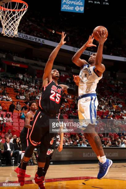 Kevon Looney of the Golden State Warriors shoots the ball during the game against the Miami Heat on December 3 2017 in Miami Florida NOTE TO USER...