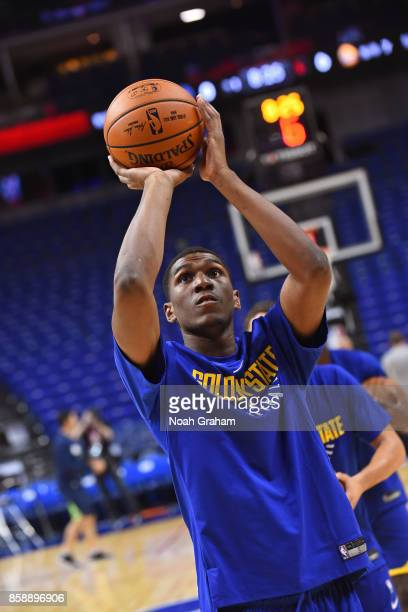 Kevon Looney of the Golden State Warriors warms up before the game against the Minnesota Timberwolves as part of 2017 NBA Global Games China on...