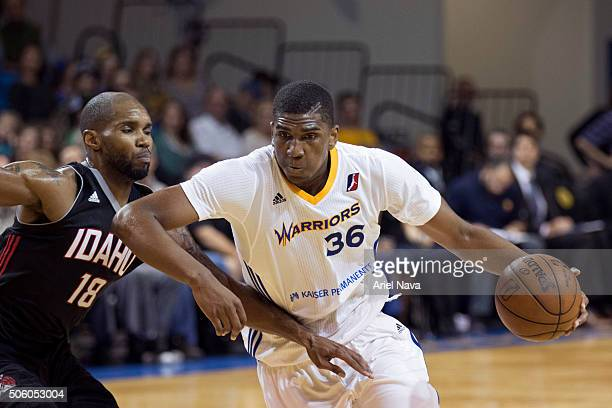 Kevon Looney of the Santa Cruz Warriors drives to the basket against the Idaho Stampede during an NBA DLeague game on January 20 2016 in Santa Cruz...