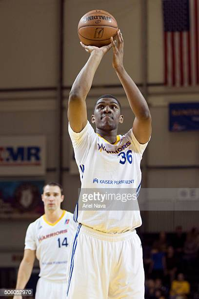 Kevon Looney of the Santa Cruz Warriors shoots a foul shot against the Idaho Stampede during an NBA DLeague game on January 20 2016 in Santa Cruz...