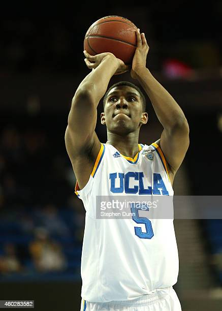 Kevon Looney of the UCLA Bruins shoots a foul shot against the UC Riverside Highlanders at Pauley Pavilion on December 10 2014 in Los Angeles...