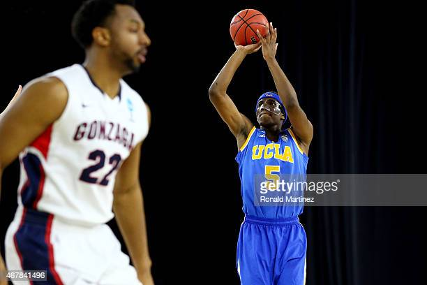Kevon Looney of the UCLA Bruins takes a shot against the Gonzaga Bulldogs during a South Regional Semifinal game of the 2015 NCAA Men's Basketball...