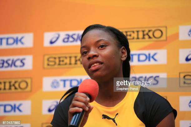 Kevona Davis of Jamaica speak to the media during a press conference ahead of the IAAF U18 World Championships on July 11 2017 in Nairobi Kenya